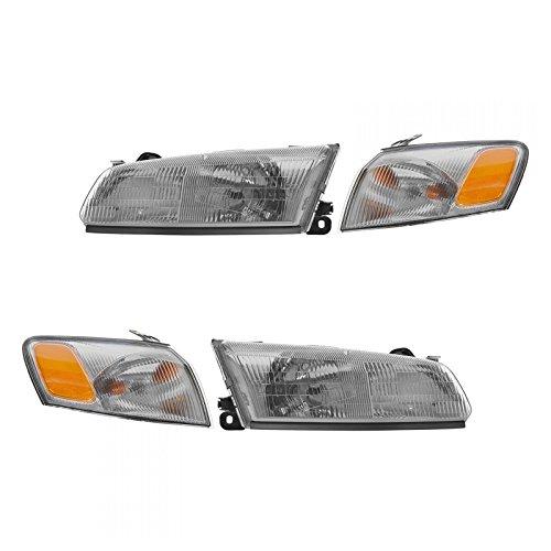 Headlights Headlamps & Corner Parking Lights Kit Set for 97-99 Toyota (Headlamp Set)