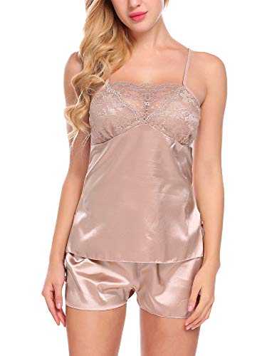 ADOME Women Satin Pajamas Lace Cup Nightwear Cami Shorts Set Coffee XX-Large
