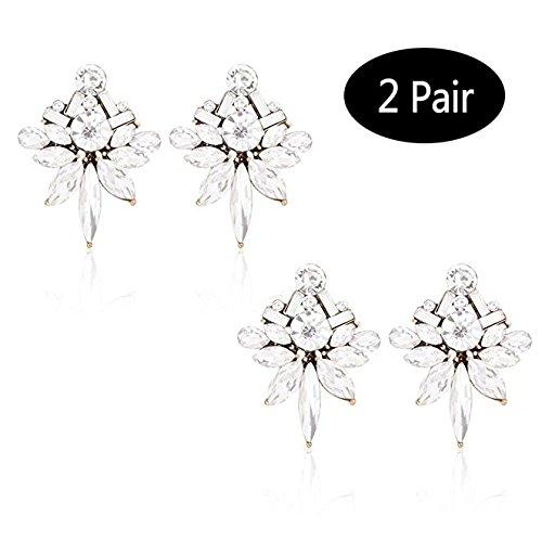 Floral Design Stud - TAGOO Colorful Floral Leaf Shape Stud Earring Teardrop Design Crystal Earrings Sets for Women&Girls Wedding/Banquet/Dailywear (Clear 2 Sets for Wedding 1.37