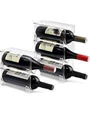 Stackable Wine Storage Rack 6 pcs | Free Standing Organizer for Refrigerator or Kitchen Countertops - Holds (6)
