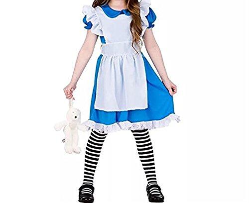 FSBBUT Girls Storybook Alice In Wonderland Fairy Tale Book Week Fancy Dress Costume (Blue, 150/10-12Y)