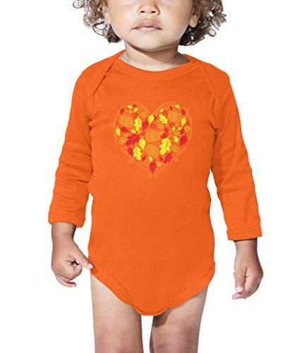 HAASE UNLIMITED Autumn Heart - Fall Harvest Cornucopia Long Sleeve Bodysuit (Orange, 6 Months) ()