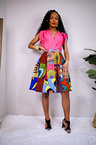 - Boriah Women's African Wax Print Handmade Patchwork Skirt (S-XL) (X-Large) Pink
