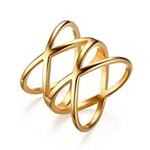 """Stainless Steel Double """"X"""" Criss Cross Ring,Gold"""