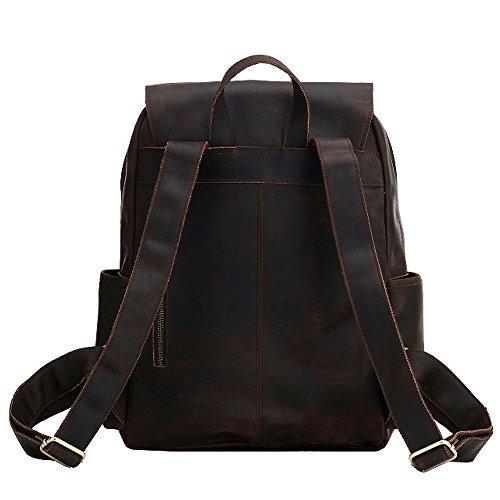 03816b78f8403 Paonies Unisex Women Men Leather Backpack Rucksack School Hiking Laptop Bag  by Paonies (Image #