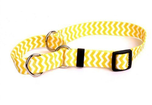 "Chevron Lemon Martingale Control Dog Collar - Size Medium 20"" Long - Made In The USA"