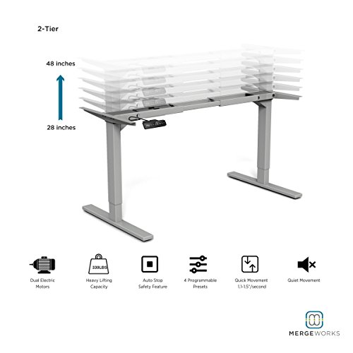 Steel Frame Adjustable (Merge Works HighRise Heavy Duty Electric Height Adjustable Steel Frame Base for Ergonomic Sit to Stand Desk–Expanded Height & Width Adjustment Range, Silver)
