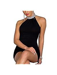 Relaxlama Women's High Neck Sequined Sleeveless Bodycon Night Club Dress