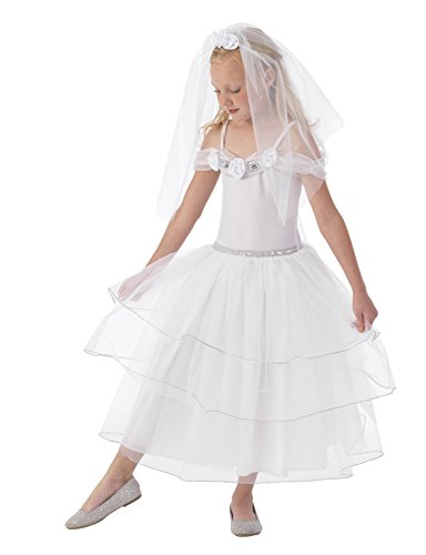 KidKraft White Rose Bride Dress Up Costume - L