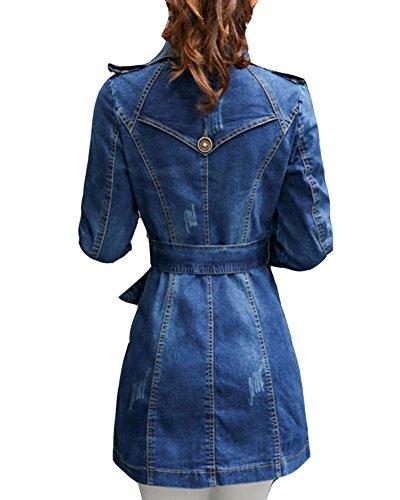 Veste Blouson Femme Manteau Veste Veste Longue Trench Denim Jean Manche Bleu Coats Longue En 7a6qUTR