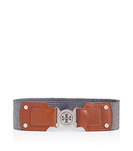 Tory Burch Women's Metallic Logo Stretch Waist Belt, Luggage /Silver (Small) by Tory Burch