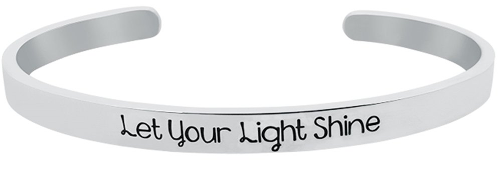 ''Let Your Light Shine'' Christian Bible Verse Religious Positive Message Cuff Bangle Bracelet, Inspirational Quote Jewelry Gifts for Women & Teen Girls