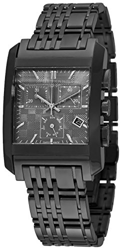 Burberry Heritage LUXURY Mens Unisex Square Chronograph Watch Black Ionic Plated Engraved Date Dial BU1563