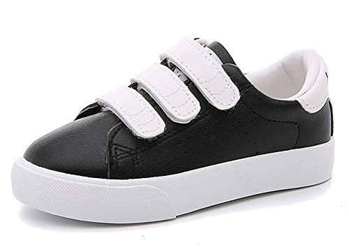 Price comparison product image Orlando Johanson New Kids Contrast Color School Sneakers Leather Waterproof Sport Running Shoes Black 13.5 M US Little Kid Comfortable