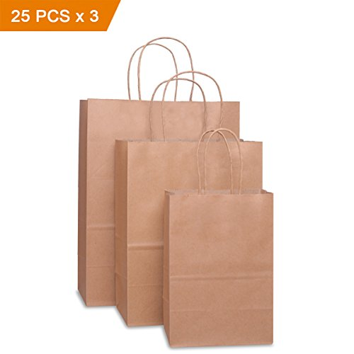 BagDream Kraft Paper Bags 5x3x8& 8x4.75x10& 10x5x13 25 Pcs Each, Gift Bags, Kraft Bags ,Shopping Bags With Handles, Paper Shopping Bags, Craft Bags, Merchandise Bags, 100% Recyclable Paper