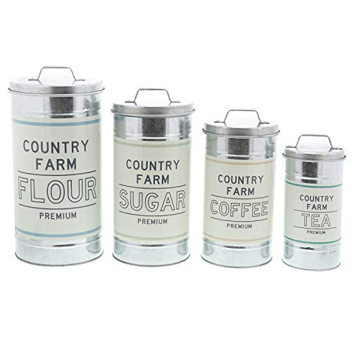 Vintage Tea Canister (Barnyard Designs Decorative Nesting Kitchen Canisters with Lids Galvanized Metal Rustic Vintage Farmhouse Country Decor for Flour Sugar Coffee Tea Storage (Large Set of 4))