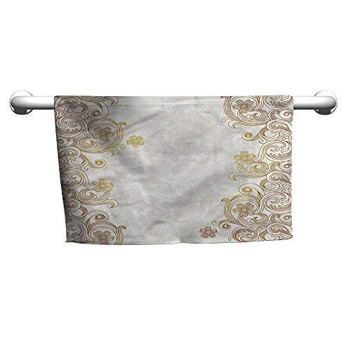 (flybeek Square Towel Traditional,Swirly Leaves Victorian,Towel bar for Glass Shower Door)