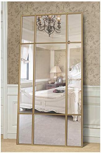 Standspiegel Ganzkörperspiegel, Gold, aus Metall – Rechteckiger Ankleidespiegel   [H 220* B 110* T 3cm]   Designed in Dänemark   Garderobenspiegel groß, lang, stehend   vertikal/horizontal