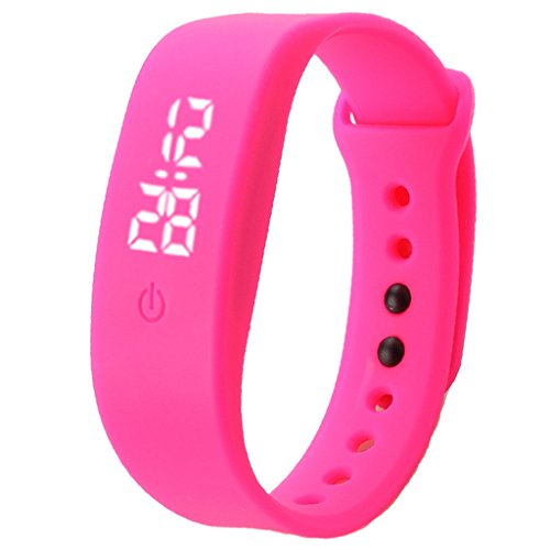 POTO 2017 New Waterproof Unisex Rubber LED Watch Date Sports Bracelet Digital Wrist Watch Gift (Hot Pink)
