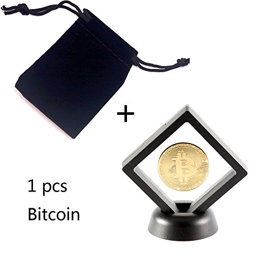 Losga Bitcoin Coin Plated Bitcoin Displayed in a Unique Black Diamond Magic Suspension Display Case w/ stand Limited Edition Collectors Set | Physical Gold Coin with Crypto Coin Display Case