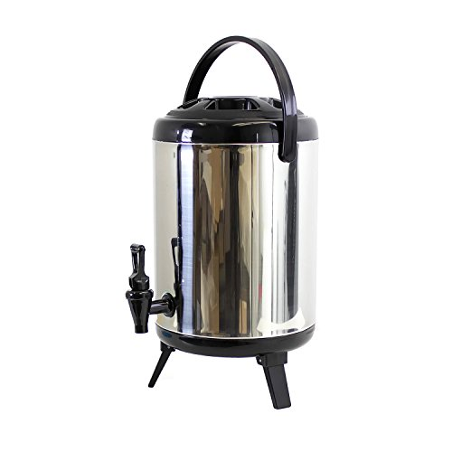 Cheftor 10 L / 2.5 Gal Heavy Duty Stainless Steel Water Beverage Cooler With Spill Proof lid and (Hot Water Dispenser Restaurant)
