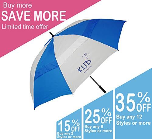 Nylon Windproof Umbrella (KUD 68 inch Automatic Open Stick Golf Umbrella with Large Oversize Windproof Double Canopy (Blue))