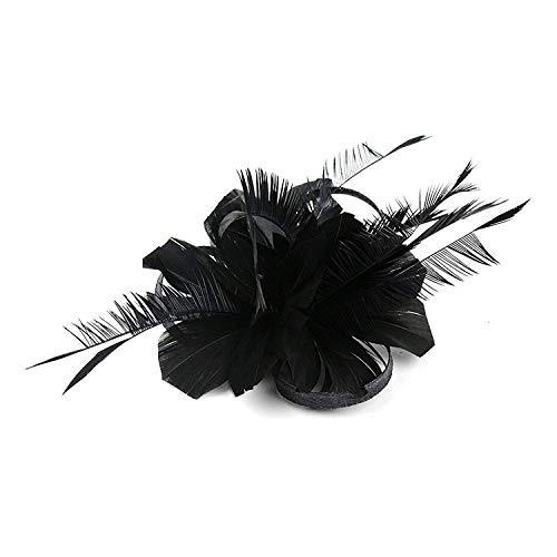 Hilary Ella Fashion Flax Hair Clip Feather Barette Hairpin Fascinator, Black, One Size