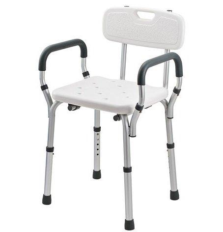 Duschstuhl mit Rückenlehne und Armstützen, Wannenstuhl, höhenverstellbar