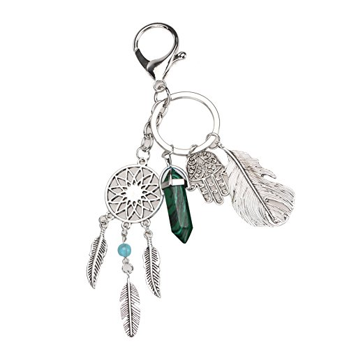 Price comparison product image Mikolot Natural Opal Stone Dreamcatcher Keyring Fashion Agate Car Bag keychain