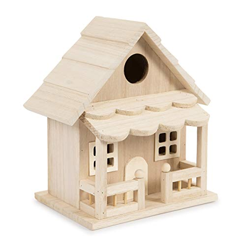 Darice 30024507 Birdhouse with Front Porch, 18.5 inch Wood Bird House, Multicolor