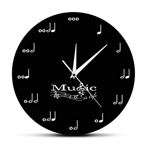 (HUSHIJIAN Wall Decor Symphony Musical Wall Clock Treble Clef Music Studio Hanging Wall Watch Musician Gift)