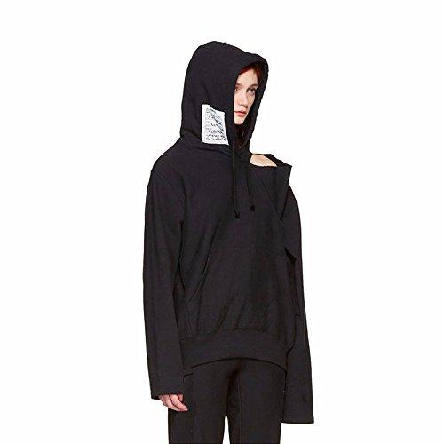 Neutral dress coat sleeve female giant lazy couples dress sweater coat,M,Black Belt cap by Xuanku