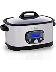 NutriChef PKPC35 Preset Cooking Functions with Sous Vide Mode Digital Multi-Cooker, Medium, Silver