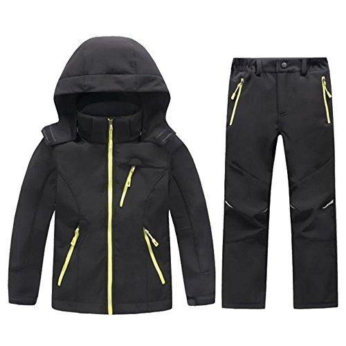 LANBAOSI Boys & Girls Snow Jacket and Pants Kids Softshell Fleece Lined Suits 14 Black Set