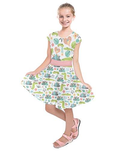 PattyCandy Girls Cute Crocodile Pattern Kids Fun Short Sleeve Dress - 14