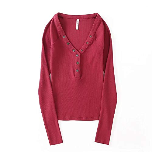Spinning tops Sexy Slim Large V-Neck Buckle Elastic Stretch Shirt Women's Long-Sleeved T-Shirt