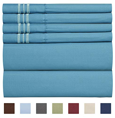Queen Size Sheet Set - 6 Piece Set - Hotel Luxury Bed Sheets - Extra Soft - Deep Pockets - Easy Fit - Breathable & Cooling Sheets - Wrinkle Free - Comfy - Denim Blue Sheets - Queens Sheets - 6 PC