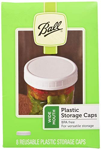 Ball Wide Mouth Plastic Storage Caps, 8-Count per pack (2-Packs) by Ball