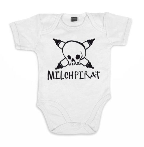 ::: MILCHPIRAT ::: Baby Body, Weiß/Schwarz, Gr. 3-6 Monate
