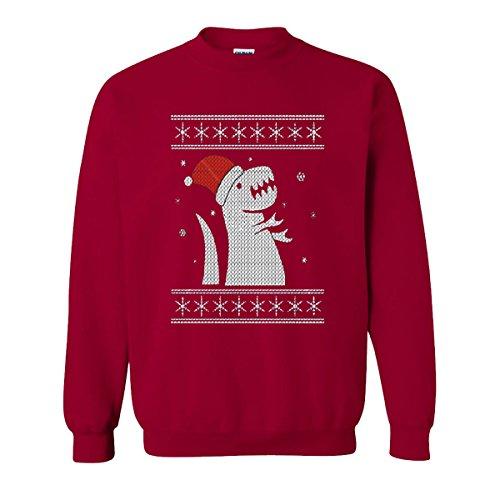 Christmas Big Trex Dinosaur Santa Claus Ugly Xmas Falcon's Sweatshirts For Women and Men (Cardinal Red, Medium) Men's V Neck Christmas Jumpers