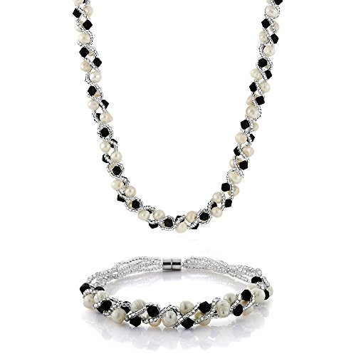 Gem Stone King 17inches White Cultured Freshwater Pearl & Black Crystal Necklace + Bracelet Set 7inches