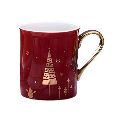 WAVEYU Ceramic Mug, Cute Coffee Cups for Women, Christmas Chic Coffee Mug with Golden Handle Decoration with Sparky Gold Girly Coffee Mug for Ideal Gifts, 9 oz (Red)