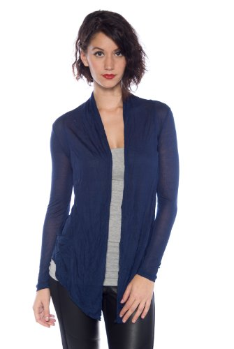 Ambiance Women's Comfortable Soft Easy Wear Cardigan Shawl Top - Various Colors (Small, Navy)