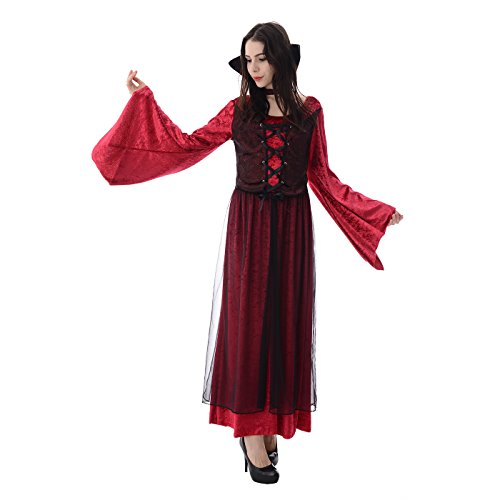 Complete Vampire Costume (Halloween Girls' Vampire Princess Costume Dress, 2Pcs (dress, stand up collar) (X-Large))