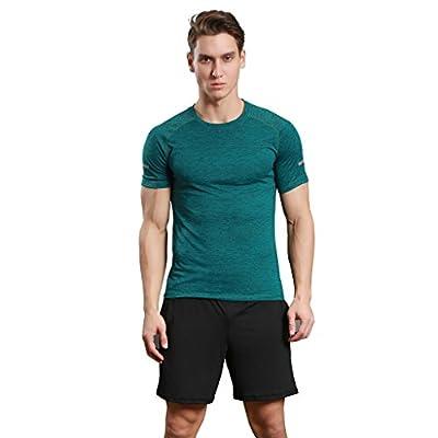 Jiayiqi Mens Sportswear T-shirt O-neck Splice Tees With Reflective Stripe Sleeve