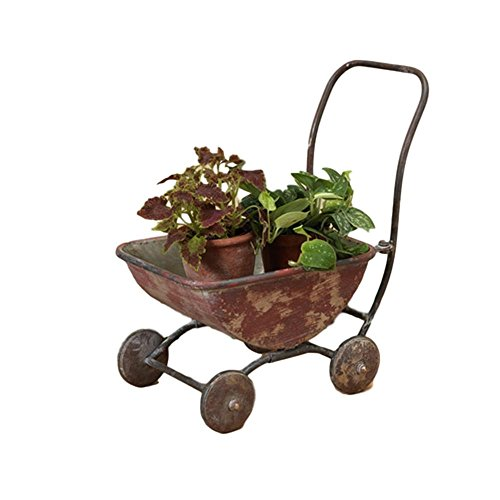 Very Cute Old Fashioned Vintage Styled Metal Wagon Planter ~ 17.5