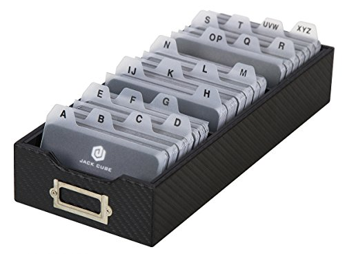 JackCubeDesign Carbon Fiber Business Card Organizer Coupon Holder Name Card Organizer Name Card Holder with Removable Divider for Desk(4.29 x 1.76 x 9.75 inches)- :MK171