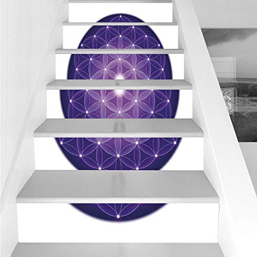 (Stair Stickers Wall Stickers,6 PCS Self-adhesive,Sacred Geometrty Decor,Flower Life Design of Ancient Traditions with Point Stars Archaic Motif,Purple,Stair Riser Decal for Living Room, Hall, Kids Roo)