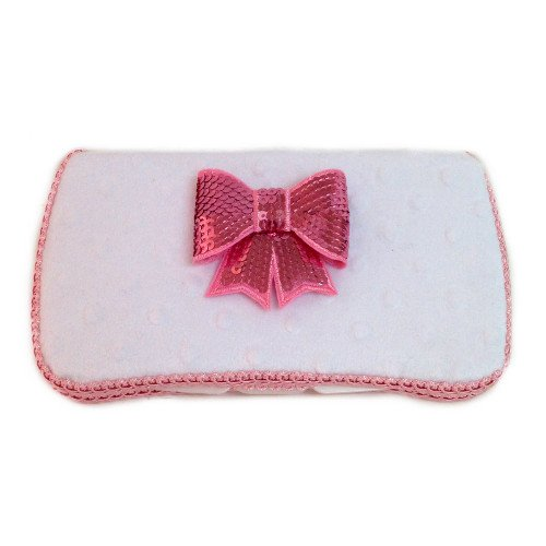 White minky fabric with pink sequence bow tie applique wipes case