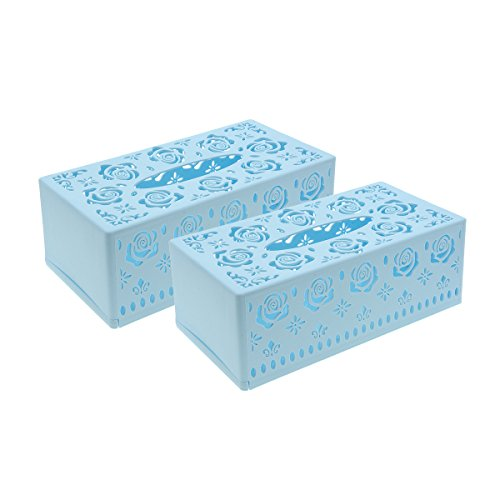 Saim Plastic Hollow Flower Pattern Facial Tissue Box Cover Holder, 2Pcs (Blue) (Hollow Pattern Flower)